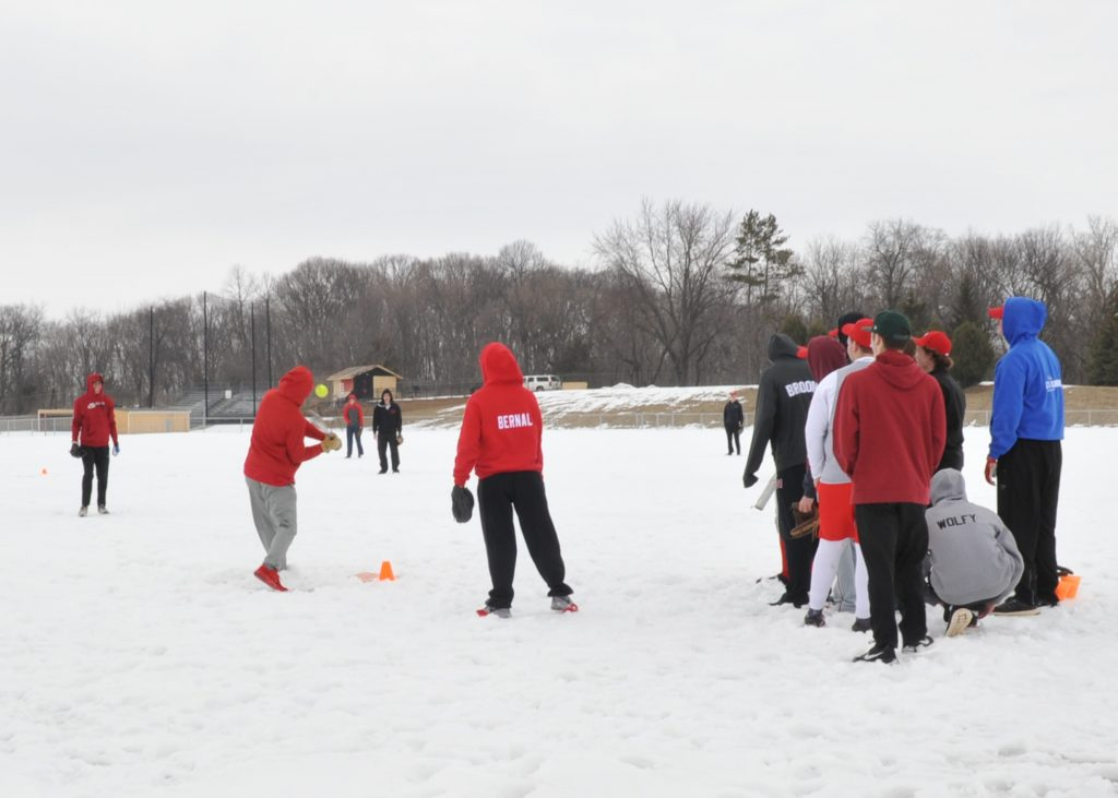 Softball game in snow