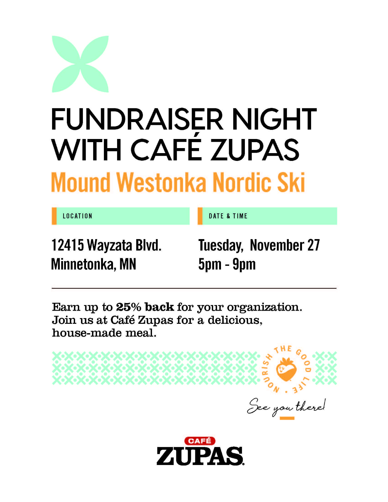 Support the Nordic Ski Fundraiser at Cafe Zupas