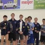 Boys Varsity Swimming beats Saline 95 – 91
