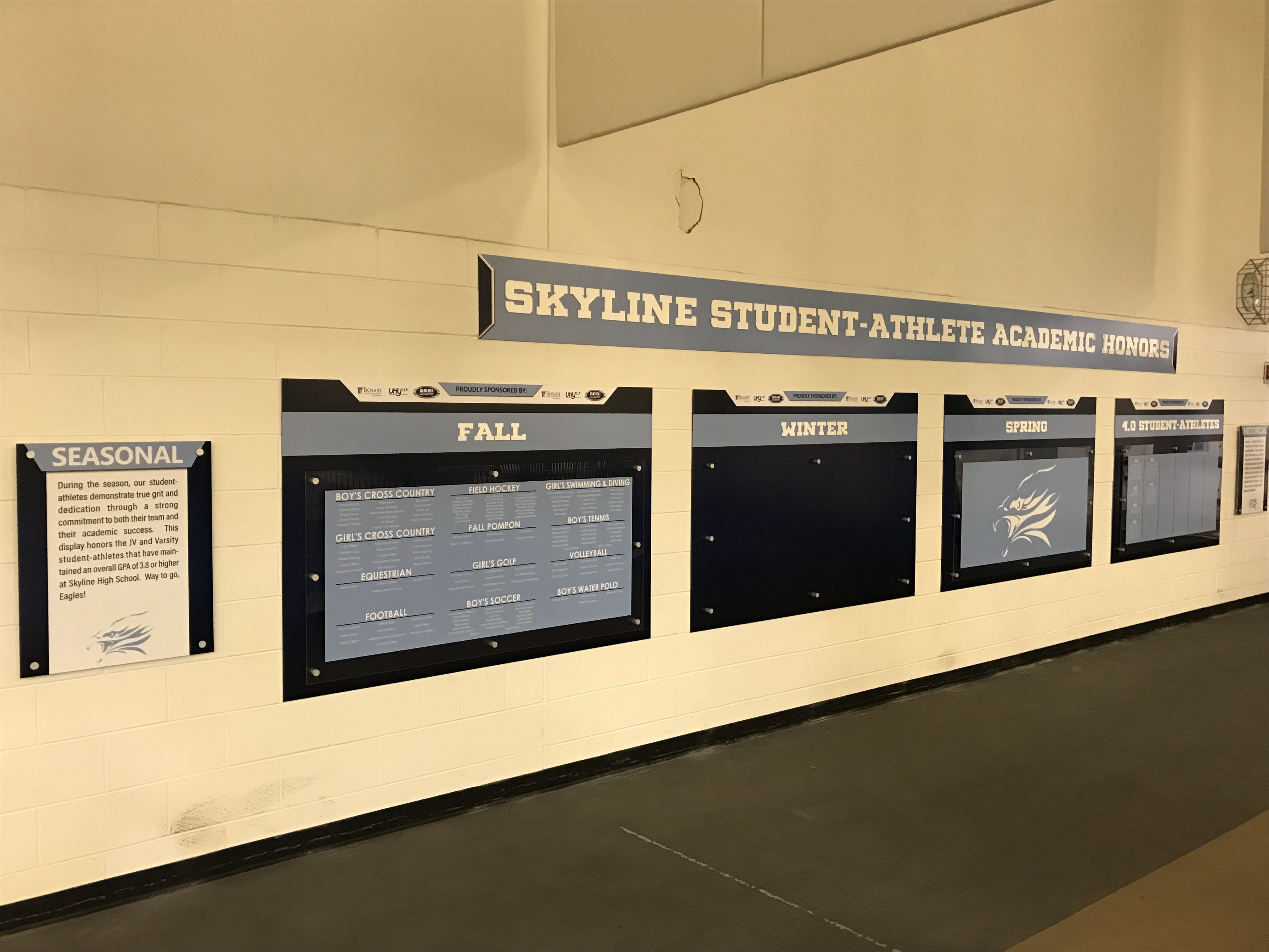 The Skyline Student/Athlete Academic Honors Wall Displayed!