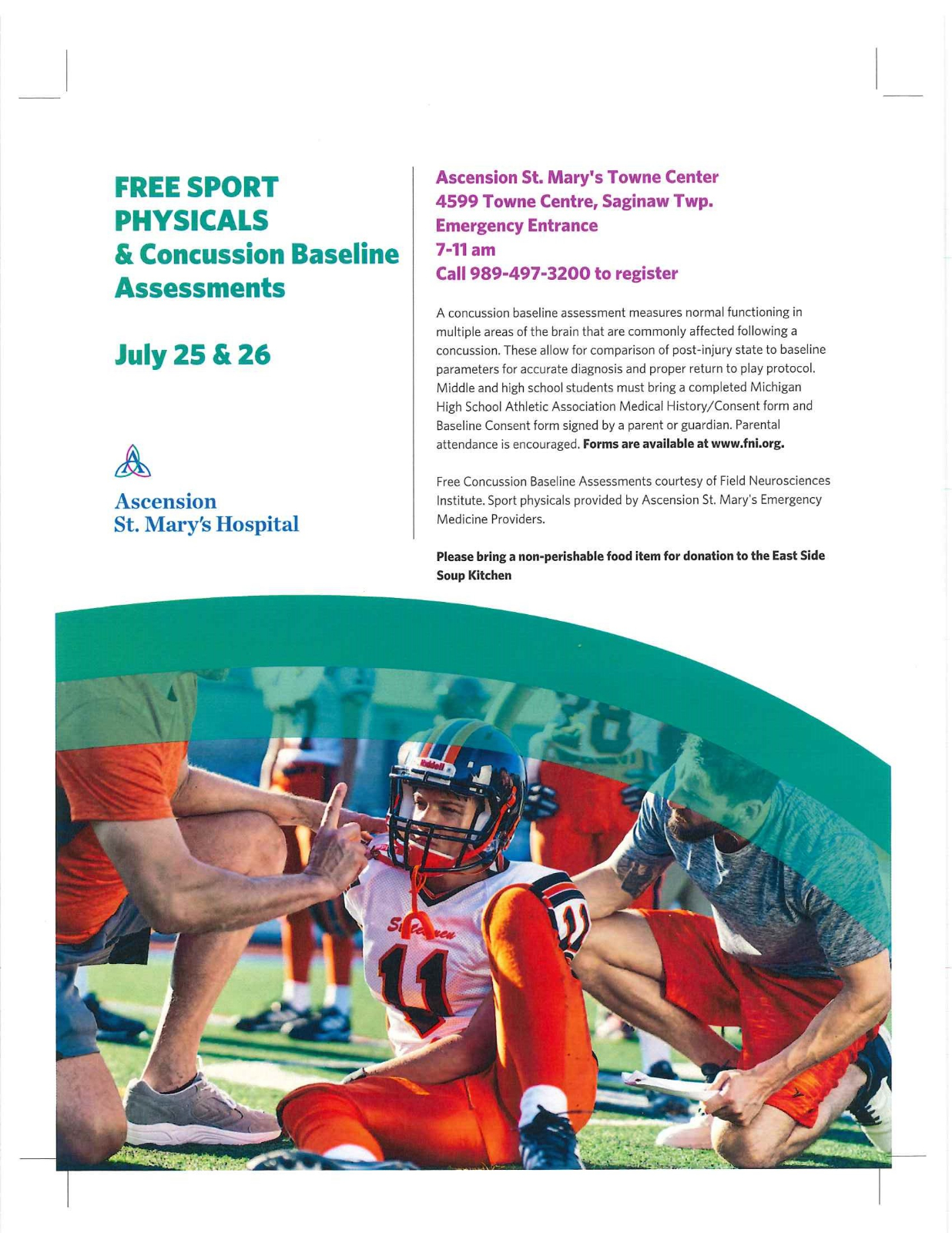 Ascension St. Mary's FREE Sports Physical Event July 25 & 26