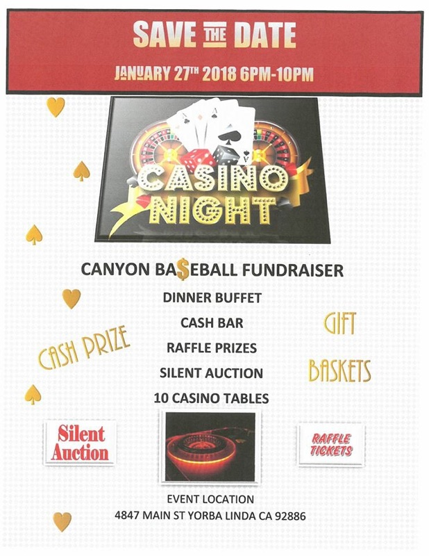 Baseball Casino Night Fundraiser