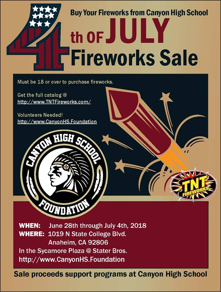 Purchase your Fireworks June 28-July 4, 2018!
