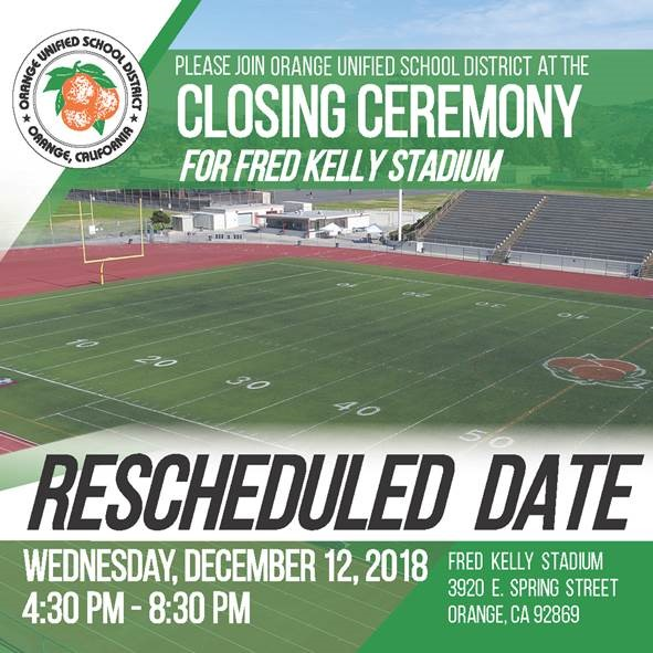 Fred Kelly Stadium Closing Ceremony rescheduled to 12/12