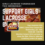 Girls Lacrosse Fundraiser at Pepz 1/16