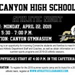 Canyon Athletic Night & Physical Fundraiser: April 22, 2019