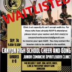 Junior Comanche Spirtleader Clinic Saturday, September 14th