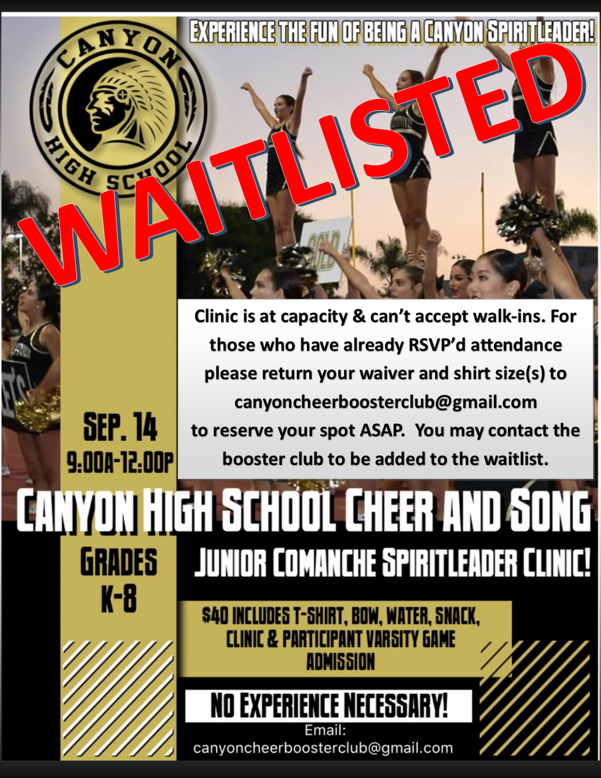 Junior Comanche Spirtleader Clinic Saturday, September 14th