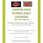 Girls Lacrosse Fundraiser at Zito's Thursday 9/19