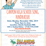 Song Fundraiser at Islands Monday, November 18th