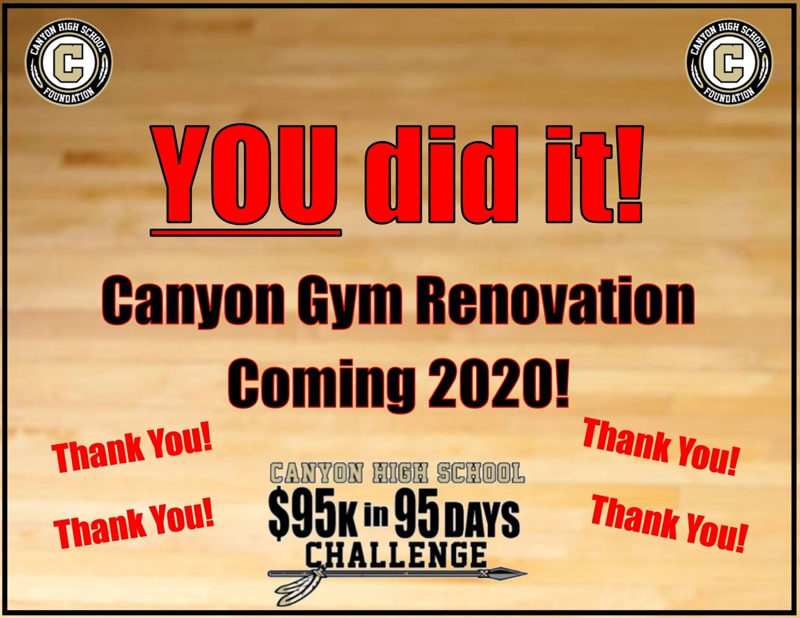 We did it! Canyon Gym Renovation coming in 2020!