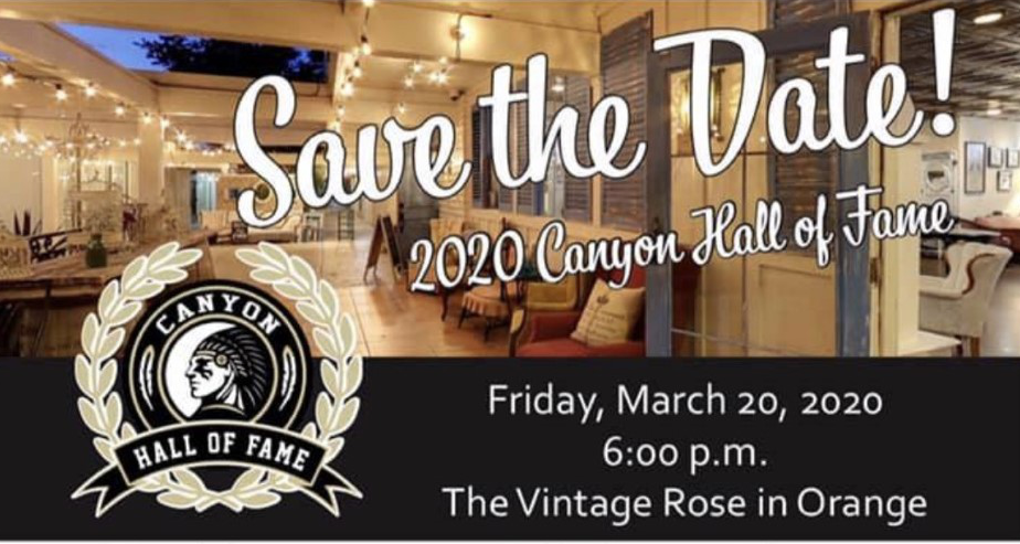 2020 Canyon Hall of Fame Gala Friday March 20, 2020