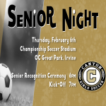 Girls Soccer Senior Night February 6th at OC Great Park Stadium