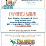 Canyon Baseball Fundraiser at Islands Monday, February 24th