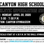 Join us for Athletic Information and Physical Night Monday, April 20, 2020!