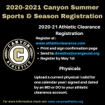 2020-21 Canyon Summer Sports and Season Registration