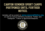 Canyon Summer Sports Camps Postponed
