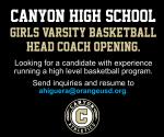 Canyon Girls Varsity Basketball Head Coach Position Open