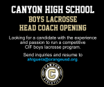 Canyon Boys Lacrosse Head Coach Opening