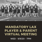Boys Lacrosse Mandatory Player/Parent Meeting Sept. 9th