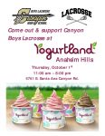 Boys Lacrosse fundraiser at Yogurtland this Thursday!