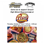 Boys Lacrosse Fundraiser at Pepz Thursday, Oct. 8
