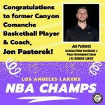 Alum Jon Pastorek part of Lakers Championship Team