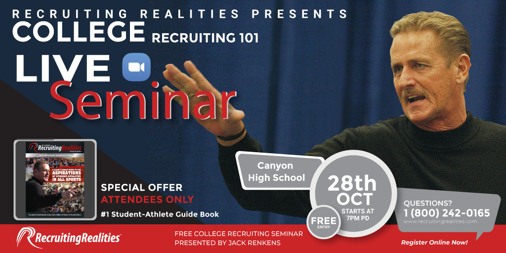Recruiting Realities Presents College Recruiting 101: October 28 at 7:00 p.m.