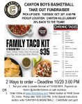 Boys Basketball – Take-Out Tuesday at Chronic Tacos