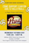 Girls Volleyball Fundraiser at Pepz Pizza and Eatery  Wednesday, October 21