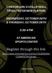 Girls Volleyball Tryouts For New Players October 28 & 29