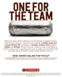 Canyon Cheer Chipotle Fundraiser Tuesday, October 27