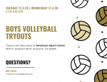 Boys Volleyball Tryouts November 3rd and 4th
