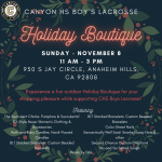 Boys Lacrosse Holiday Boutique this Sunday November 8