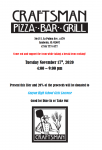 Girls Lacrosse Fundraiser @ Craftsman Pizza Bar and Grill Tuesday, November 17