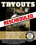 Boys Soccer Tryouts Rescheduled for next Tuesday, Dec. 8 and Thursday, Dec. 10
