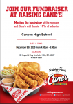 Girls Volleyball fundraiser at Raising Cane's December 9th