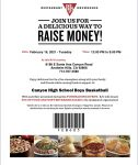 Boys Basketball  Take-Out Tuesday at BJ's Restaurant 2-16