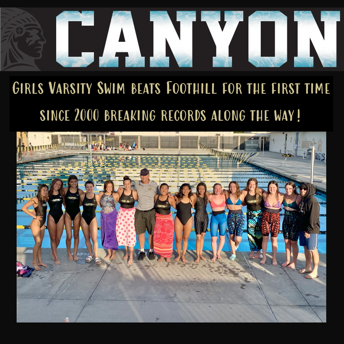 GIRLS VARSITY SWIM BEATS FOOTHILL FOR THE FIRST TIME SINCE 2000 BREAKING RECORDS ALONG THE WAY!