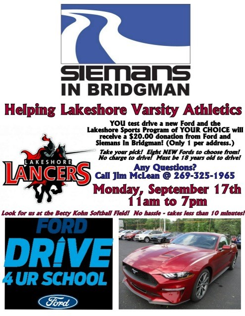 Lakeshore Athletics and Siemans In Bridgman Drive 4 UR School Fundraiser