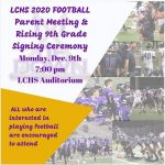 Lumpkin County 2020 Football Parent And Rising 9TH Grade Meeting