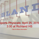 Sports Physicals Scheduled for April 25