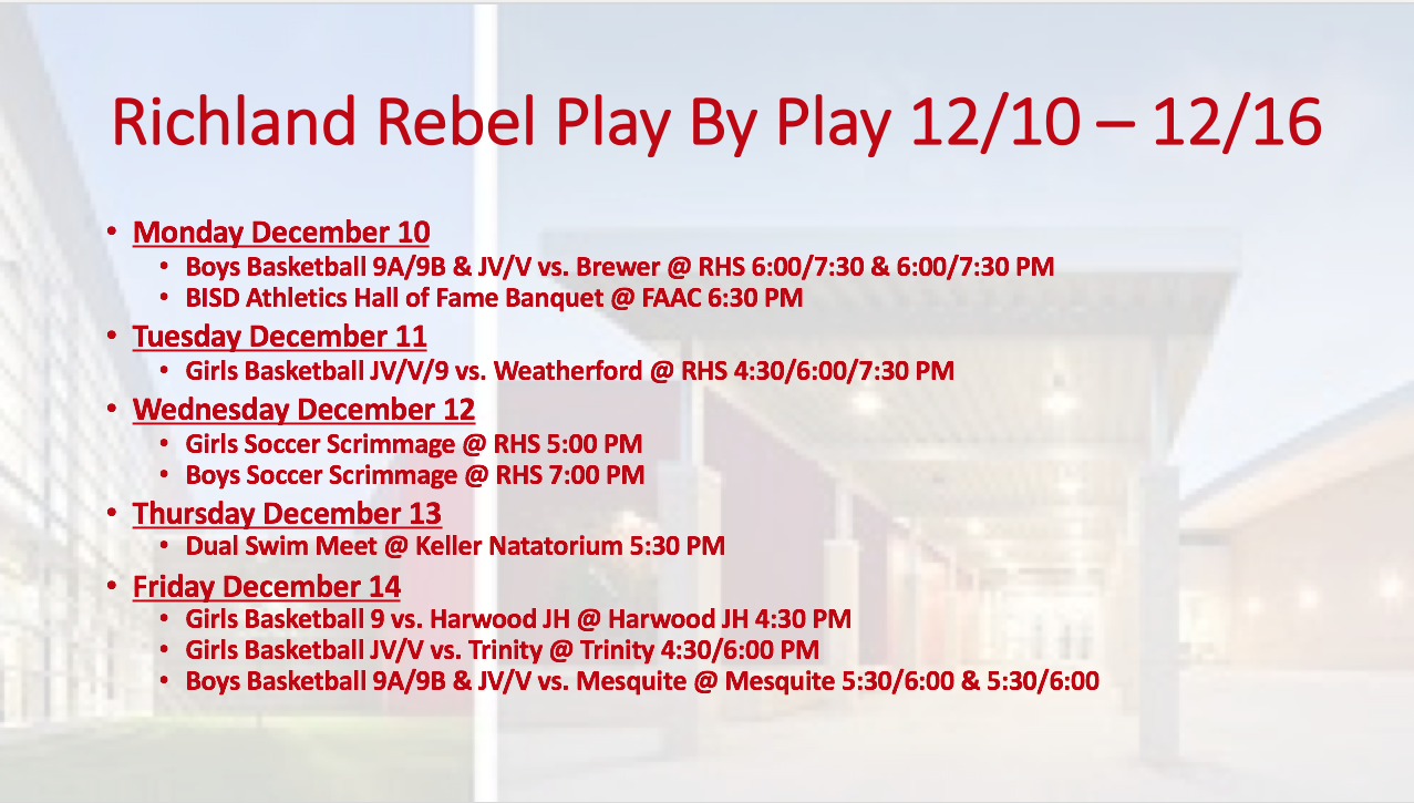 Richland Rebel Play by Play 12/10 – 12/15