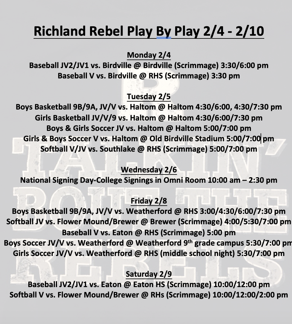 Richland Rebel Play by Play 2/4 – 2/10