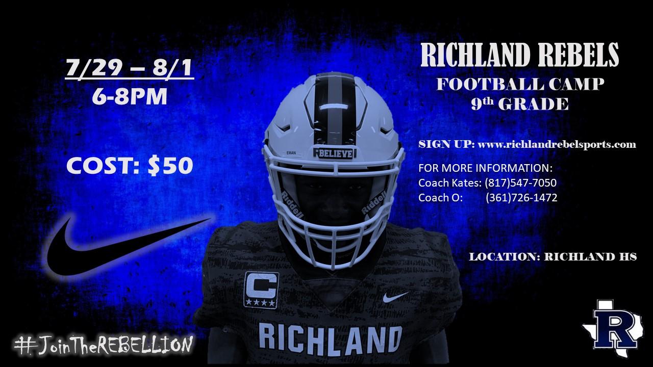 Richland Rebel 9th Grade Football Camp