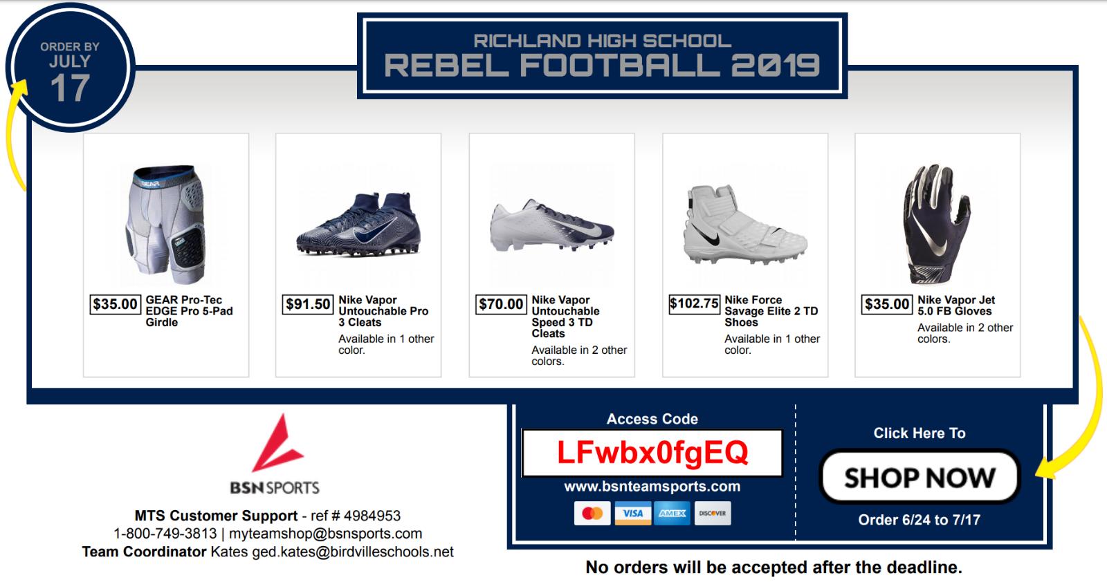 Rebel Football Equipment: Online Shop