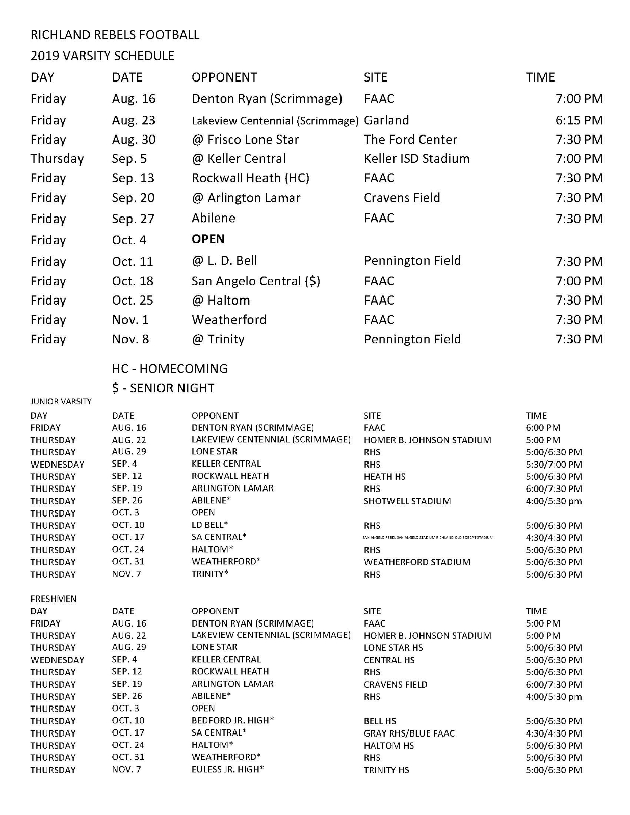 Richland Football: Corrected Master Schedule