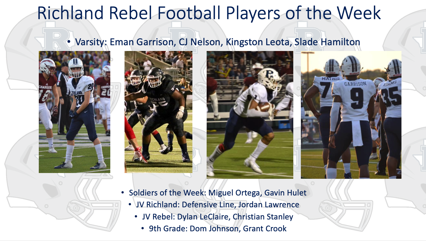 Richland Rebel Football Players of the Week