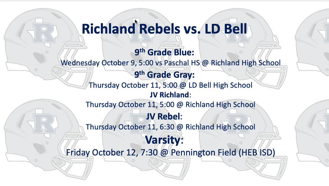 Richland vs. LD Bell Game Times