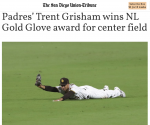 Richland's Trent Grisham Wins NL Gold Glove Award